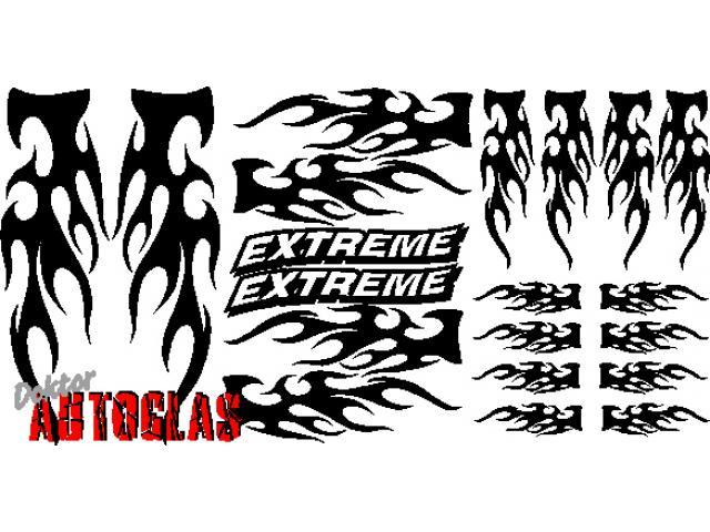 20 tlg. FLAMMEN SET FLAMES TRIBAL AUFKLEBER EXTREME TUNING
