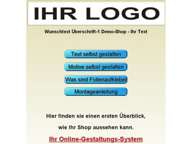 ONLINE FOLIEN-AUFKLEBER GESTALTUNGS SYSTEM - WEBSHOP