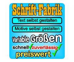 Aufkleber Wunschtext selbst gestalten günstig online designen bei Schrift-Fabrik.de
